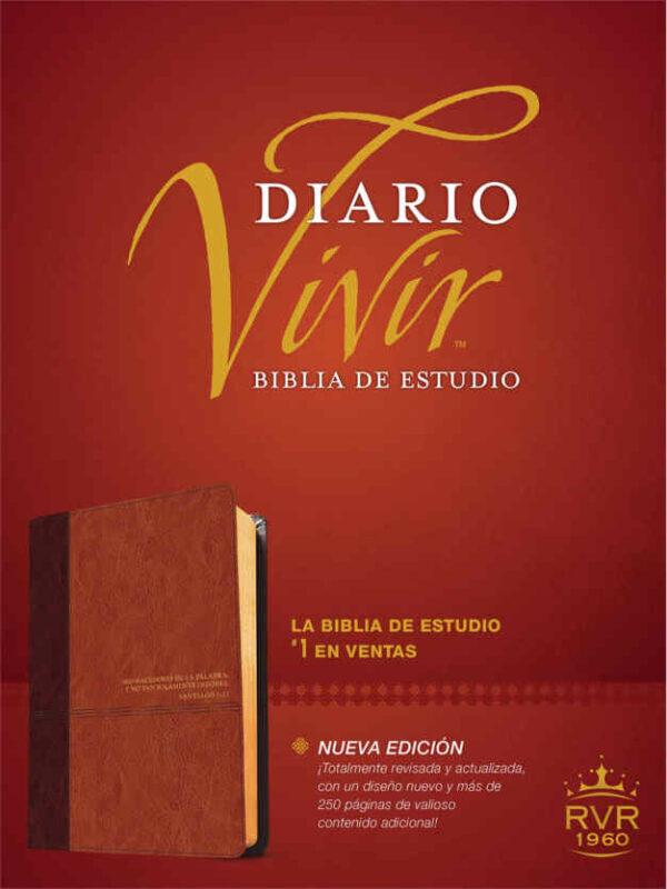 Biblia de estudio diario vivir RvR 1960, en piel café