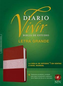 Biblia De Estudio Diario Vivir NTV Letra Grande Sentipiel Vino Rosa