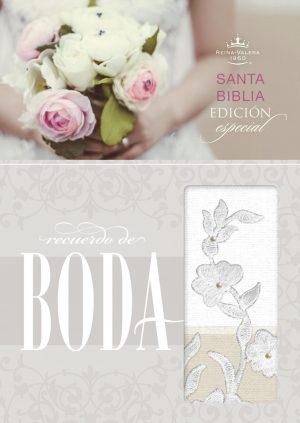 RVR 1960 Biblia Recuerdo de Boda, blanco/lino/encaje simil piel
