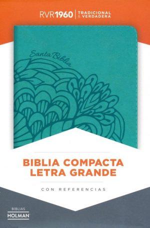 RVR 1960 Biblia Compacta Letra Grande aqua, simil piel