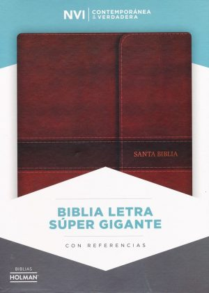 NVI Biblia Letra Super Gigante marron, simil piel con indice y solapa con iman