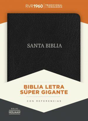 RVR 1960 Biblia Letra Super Gigante negro, piel fabricada con indice