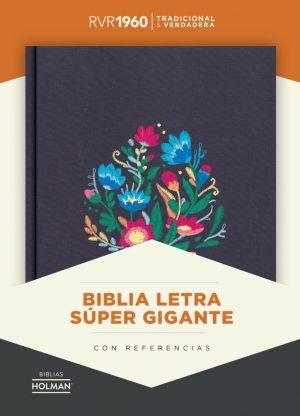 RVR 1960 Biblia Letra Super Gigante bordado sobre tela con indice