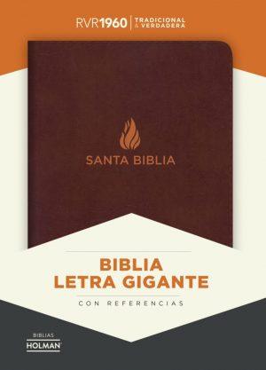 RVR 1960 Biblia Letra Gigante marron, piel fabricada con indice