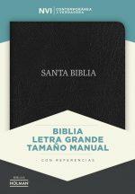 NVI Biblia Letra Grande Tamano Manual negro, piel fabricada