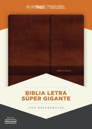 RVR60 Biblia letra Súper Gigante RVR60 marrón con solapa e imán
