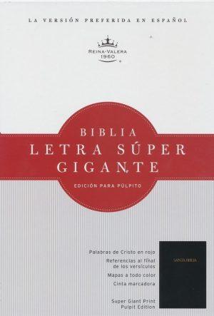 RVR 1960 Biblia Letra Super Gigante para pulpito, negra acolchonada tapa dura