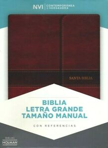NVI Biblia Letra Grande Tamano Manual marron, simil piel con indice y solapa con iman