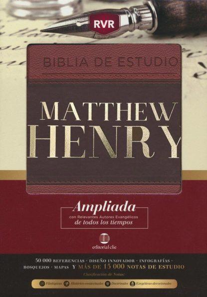 BIBLIA DE ESTUDIO RVR MATTHEW HENRY, PIEL ITALIANA