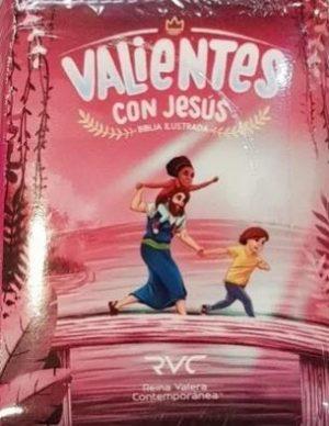 Biblia Valientes con Jesús rosada tubiblia.com.co